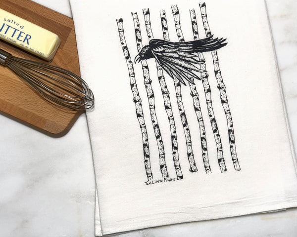 Black Crow Tea Towel, Tea Towels - Two Little Fruits