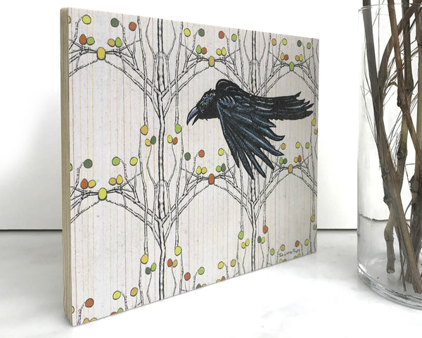 Aspen Crow 8x10 Wall Art on Wood, Art On Wood - Two Little Fruits