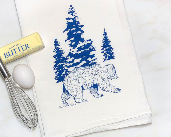 Blue Bear Tea Towel, Tea Towels - Two Little Fruits