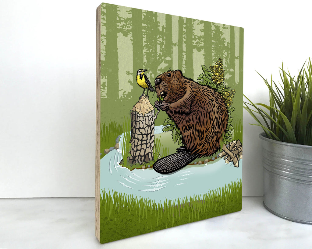 Oregon Grape & Beaver 8x10 Wall Art on Wood, Art On Wood - Two Little Fruits