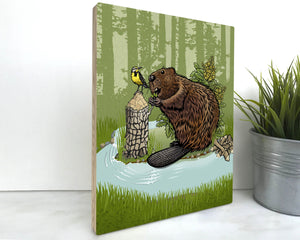 Beaver 8x10 Wood Art Block-Art On Wood-Two Little Fruits