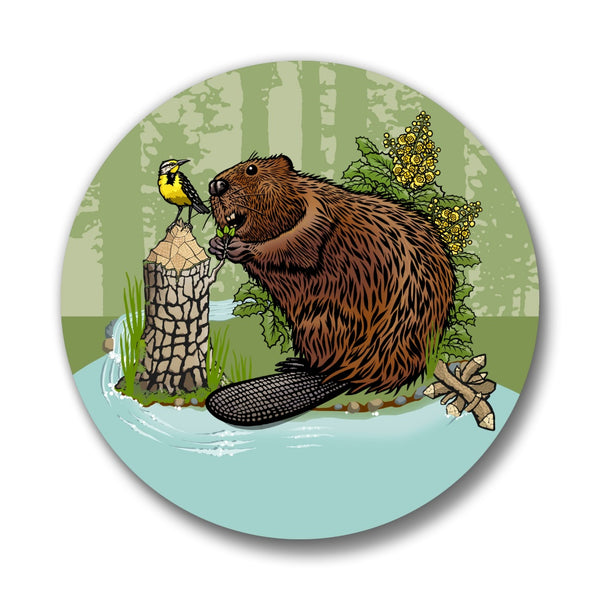 Beaver, Western Meadowlark & Oregon Grape Pin