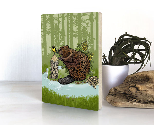 Beaver and Oregon Grape Small Wood Shelf Art, Art On Wood - Two Little Fruits