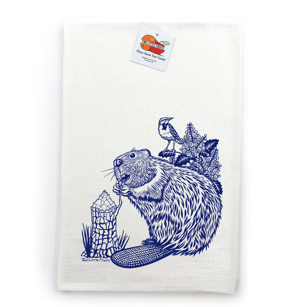 Beaver Cotton Tea Towel, Tea Towels - Two Little Fruits