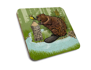 Beaver Cork Coaster-Coasters-Two Little Fruits