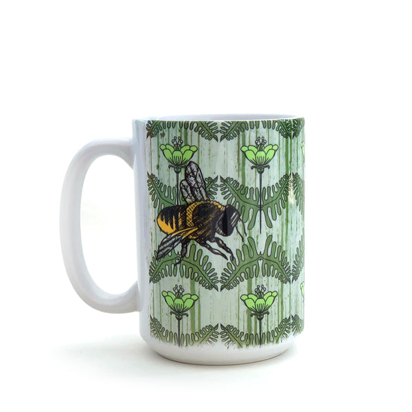 Honeybee and Green Poppies 15 Oz. Coffee Mug, Mug - Two Little Fruits