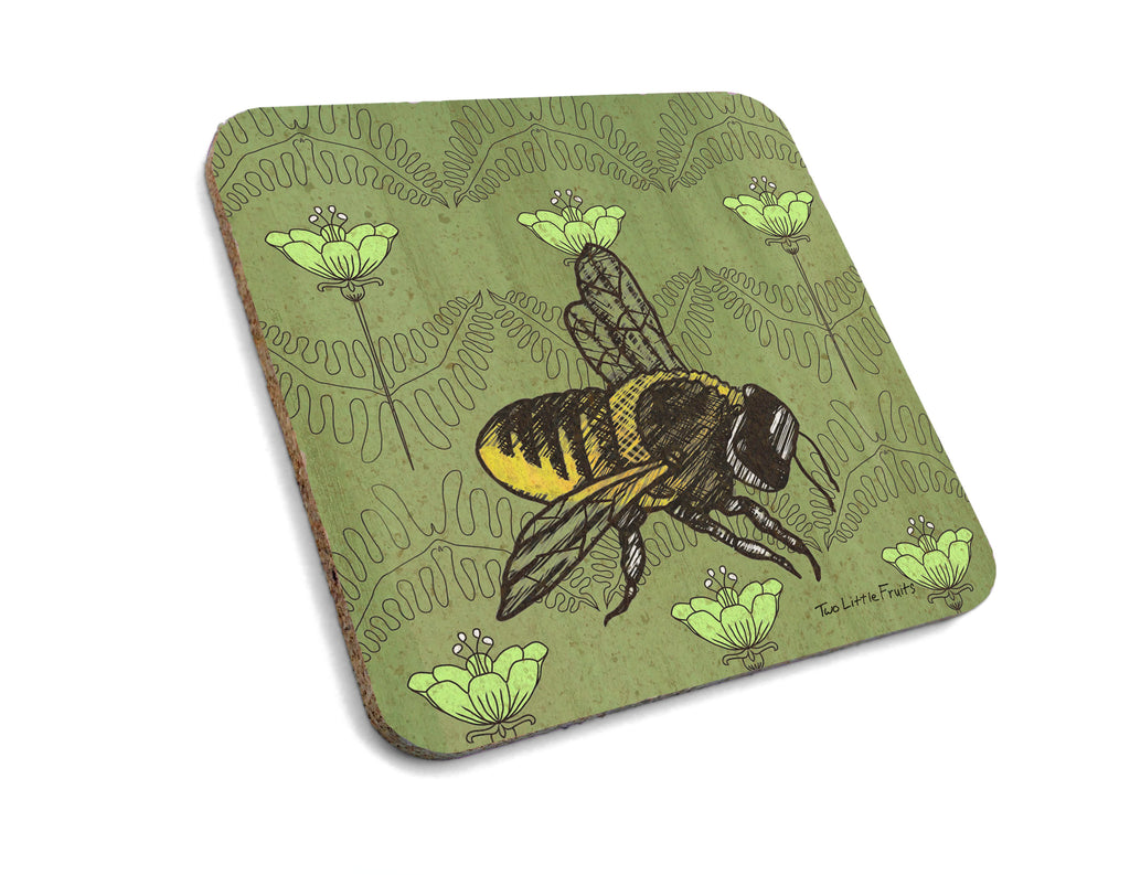 Floral Honey Bee Cork Drink Coaster, Coasters - Two Little Fruits