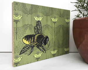 Bee Poppies 8x10 Wood Art Block-Art On Wood-Two Little Fruits