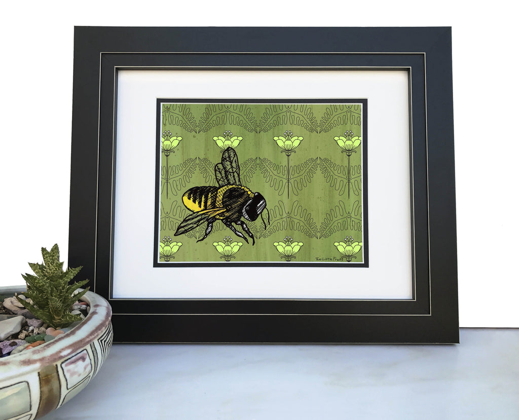 Honeybee Floral Art Print, Paper Prints - Two Little Fruits