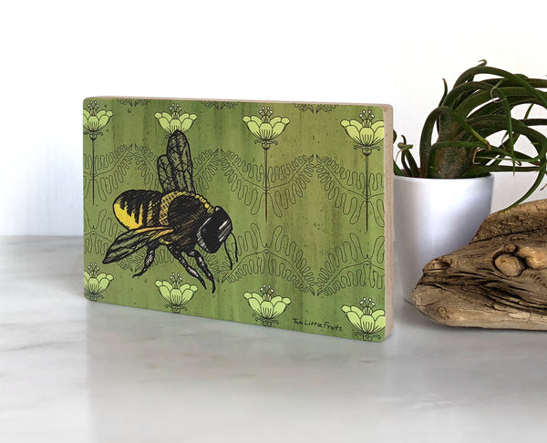 Honeybee With Poppies Small Wood Shelf Art, Art On Wood - Two Little Fruits