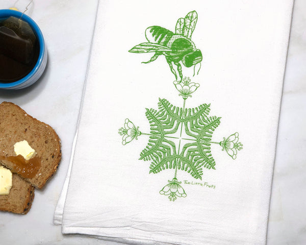 Green Floral Honeybee Tea Towel, Tea Towels - Two Little Fruits
