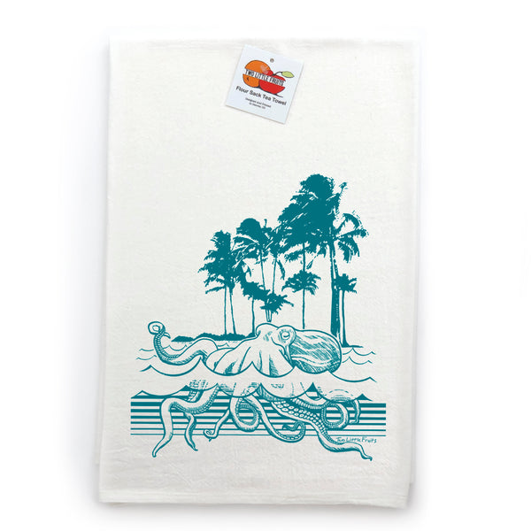 Aqua Octopus Cotton Tea Towel, Tea Towels - Two Little Fruits