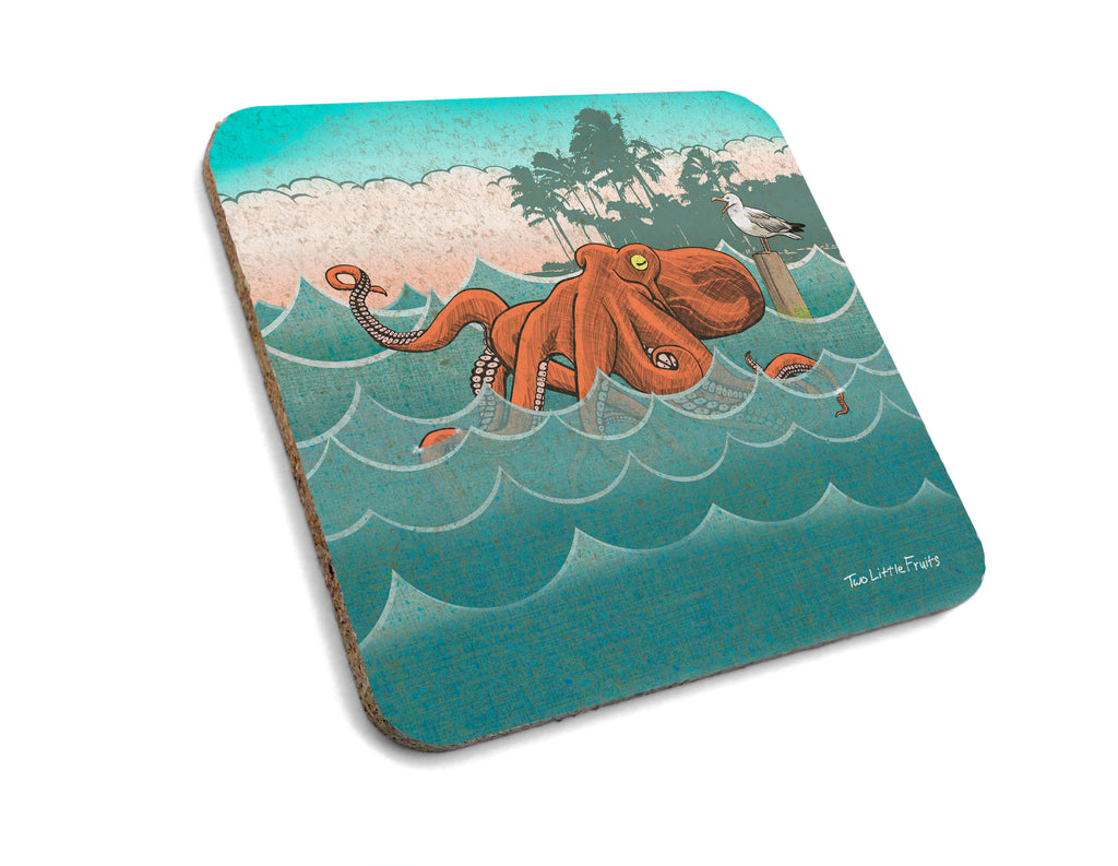 Vacationing Octopus Cork Drink Coaster, Coasters - Two Little Fruits