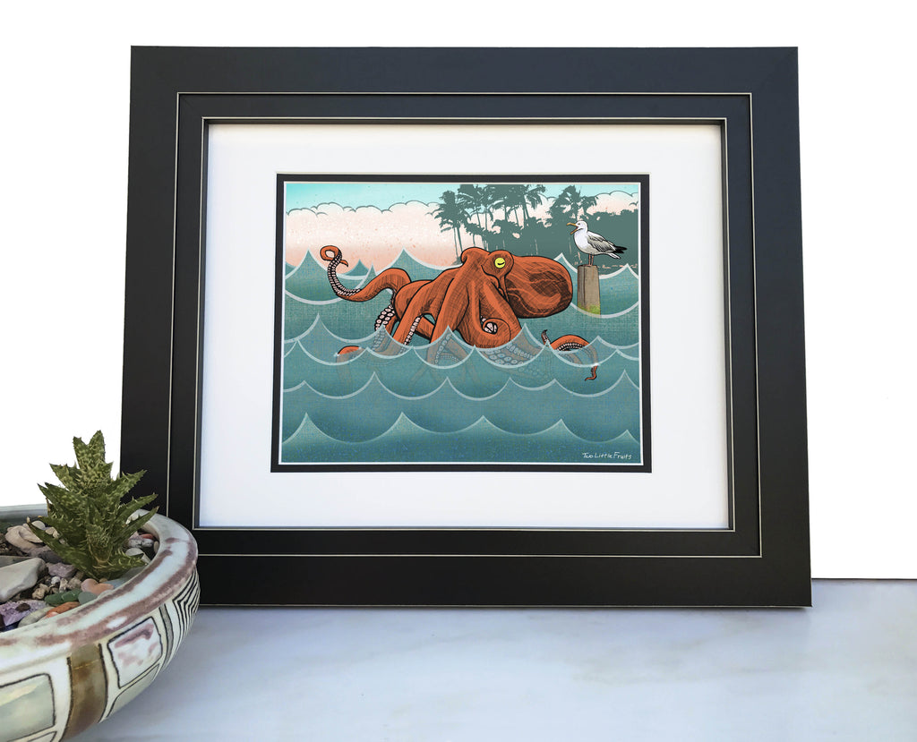 Octopus and Seagull Coastal Art Print, Paper Prints - Two Little Fruits