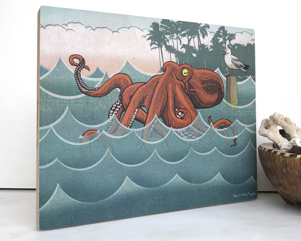 Vacationing Octopus 8x10 Wall Art on Wood, Art On Wood - Two Little Fruits