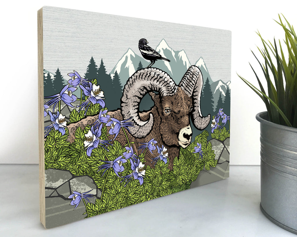 Bighorn Ram Sheep 8x10 Wall Art on Wood, Art On Wood - Two Little Fruits