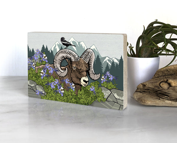 Bighorn Sheep and Columbine Small Wood Shelf Art, Art On Wood - Two Little Fruits