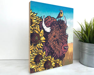Bison 8x10 Wood Art Block-Art On Wood-Two Little Fruits