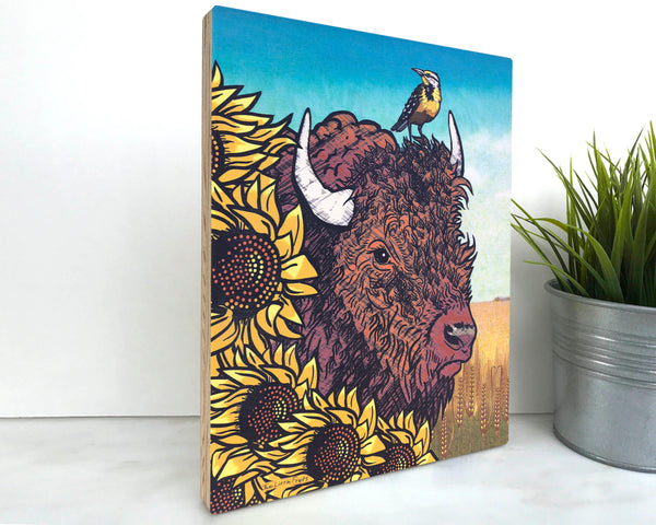 Sunflower and Bison 8x10 Wall Art on Wood, Art On Wood - Two Little Fruits