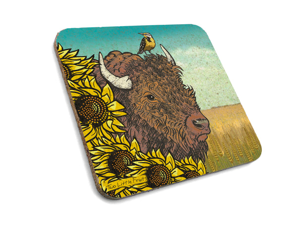 Bison and Sunflower Cork Coaster, Coasters - Two Little Fruits