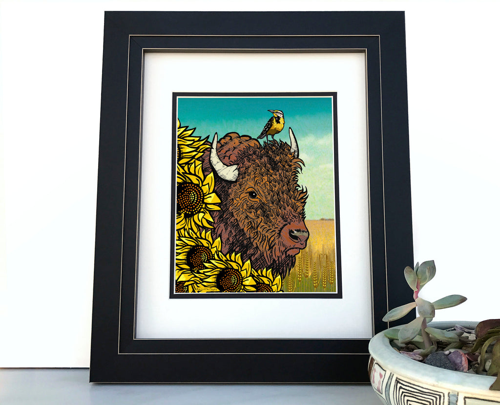 Sunflower and Bison Art Print, Paper Prints - Two Little Fruits