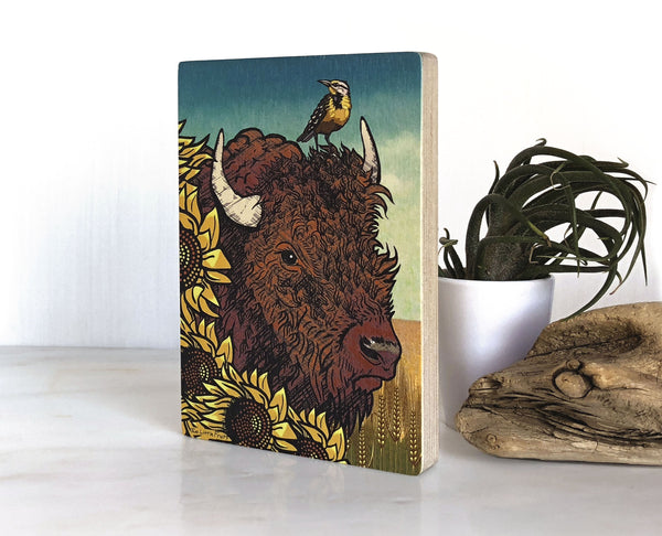 Sunflower Bison Small Wood Shelf Art, Art On Wood - Two Little Fruits