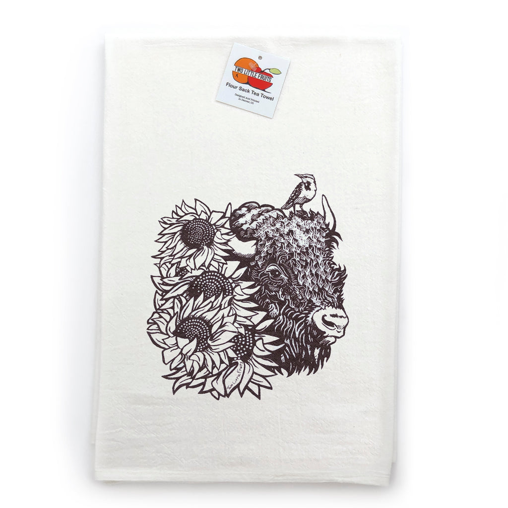 Brown Buffalo Cotton Tea Towel, Tea Towels - Two Little Fruits