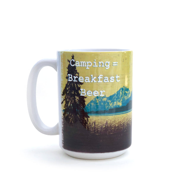 Camping = Breakfast Beer 15 Oz. Coffee Mug, Mug - Two Little Fruits