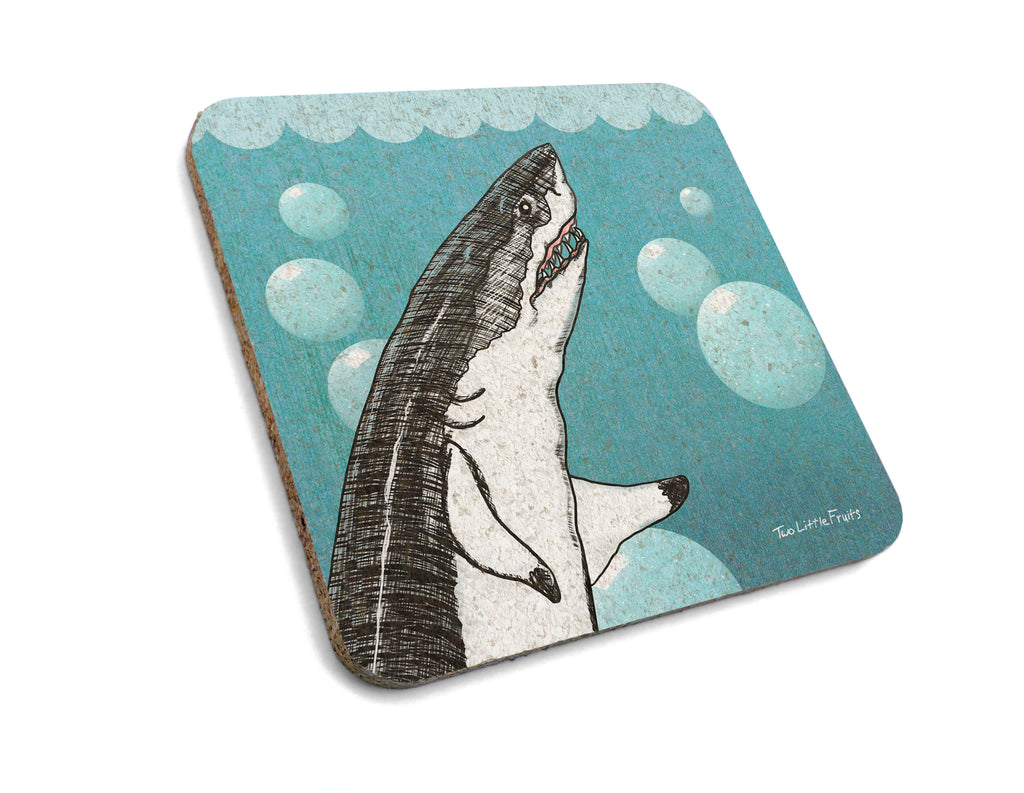 "Great White Shark ""Bubbles"" Cork Drink Coaster, Coasters - Two Little Fruits"