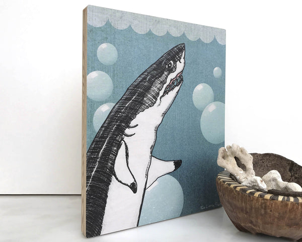 Great White Shark 8x10 Wall Art on Wood, Art On Wood - Two Little Fruits