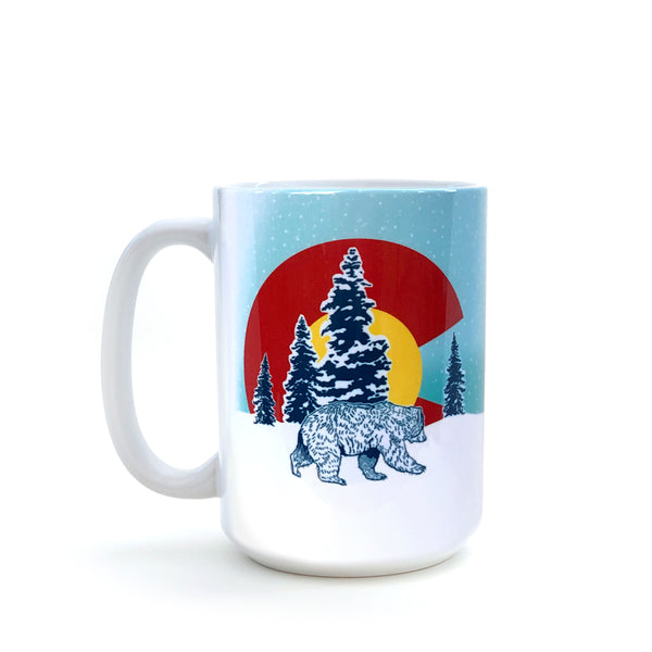 Winter Colorado Flag Bear 15 Oz. Coffee Mug, Mug - Two Little Fruits