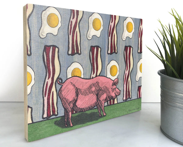Pig Bacon and Eggs 8x10 Wall Art on Wood, Art On Wood - Two Little Fruits