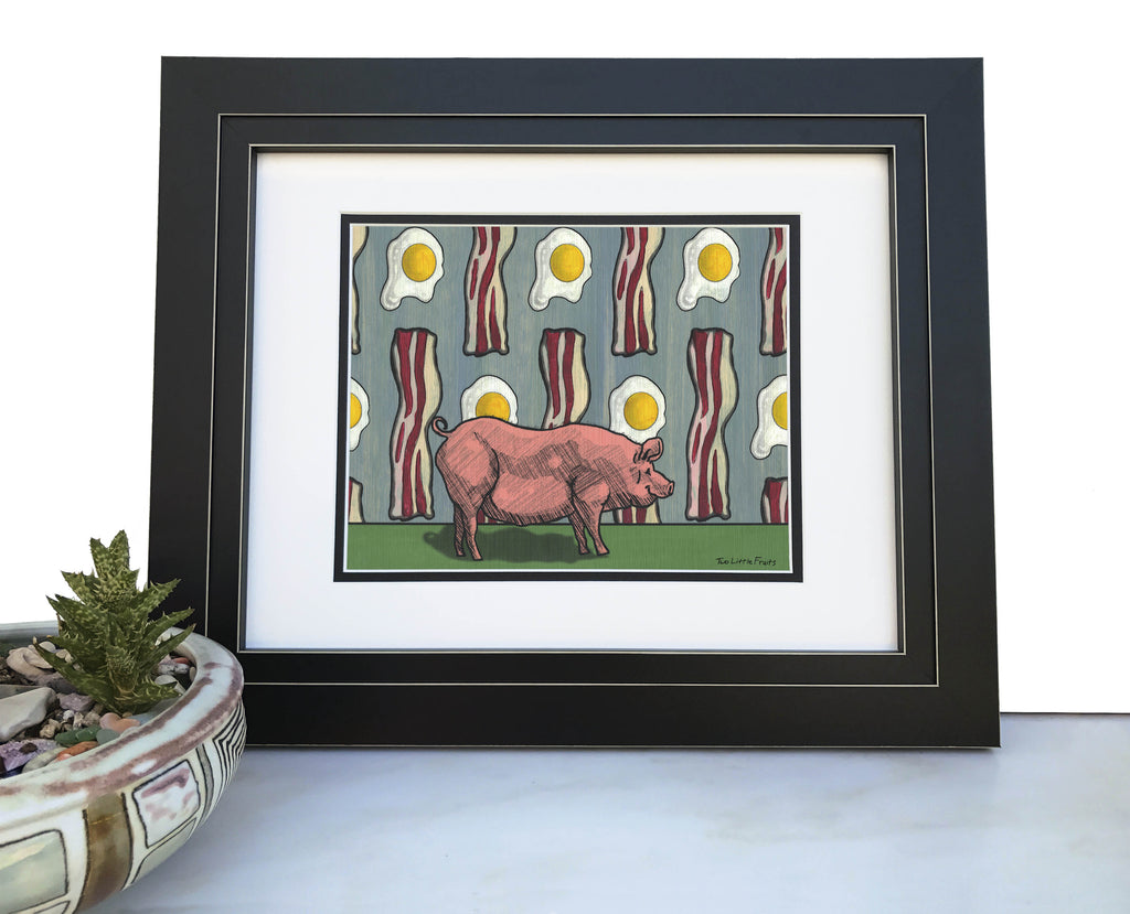 Bacon and Eggs Pig Art Print, Paper Prints - Two Little Fruits
