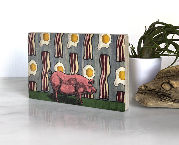Bacon and Eggs Small Wood Shelf Art, Art On Wood - Two Little Fruits