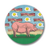 Pig with Bacon & Eggs Button Pin