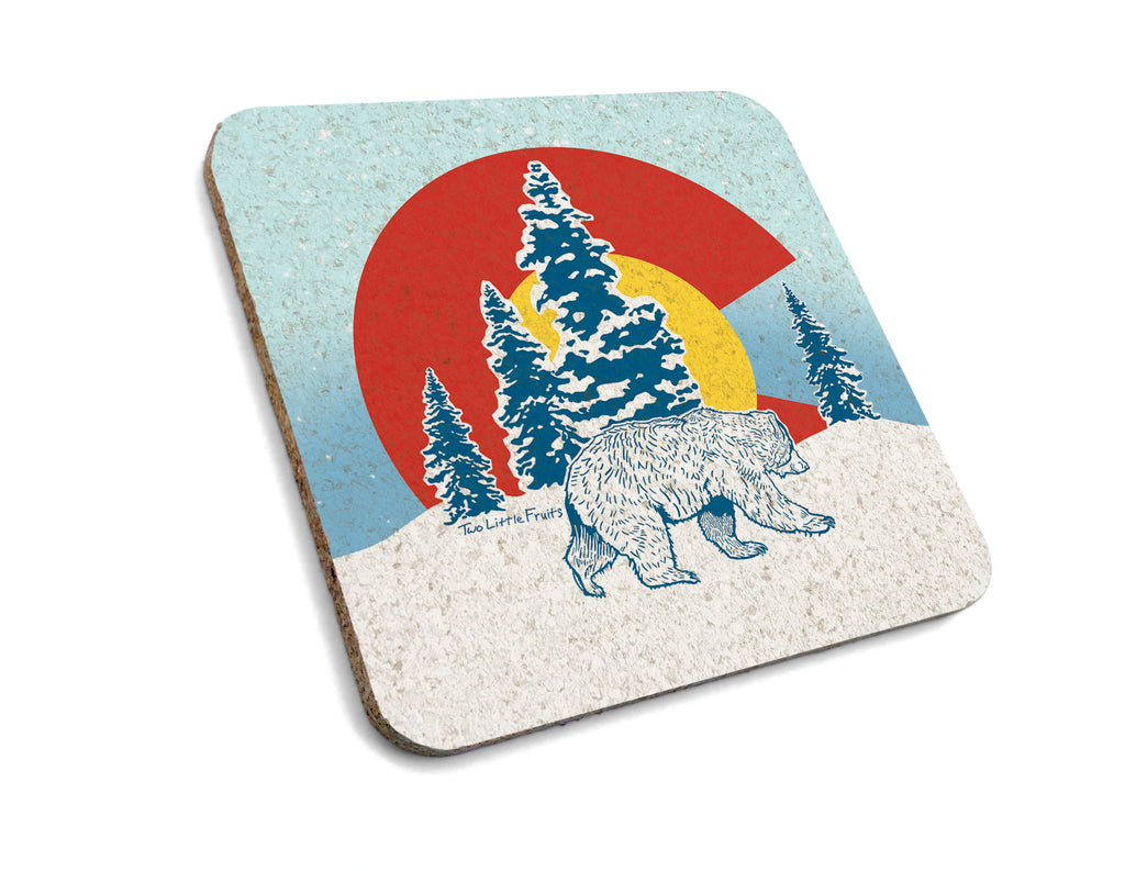 Colorado Bear Cork Drink Coaster, Coasters - Two Little Fruits
