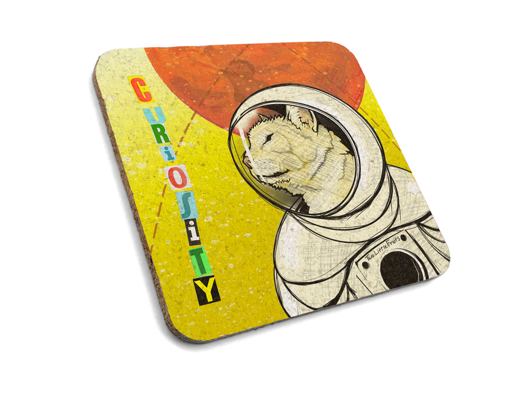 Space Cat Cork Coaster, Coasters - Two Little Fruits