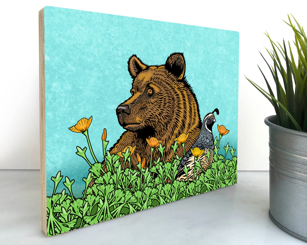 Grizzly Bear Wall Art On Wood, Art On Wood - Two Little Fruits