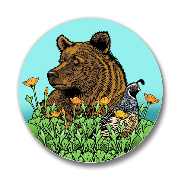 Grizzly Bear, California Quail & Poppy Matte Button Pin, Button Pins - Two Little Fruits