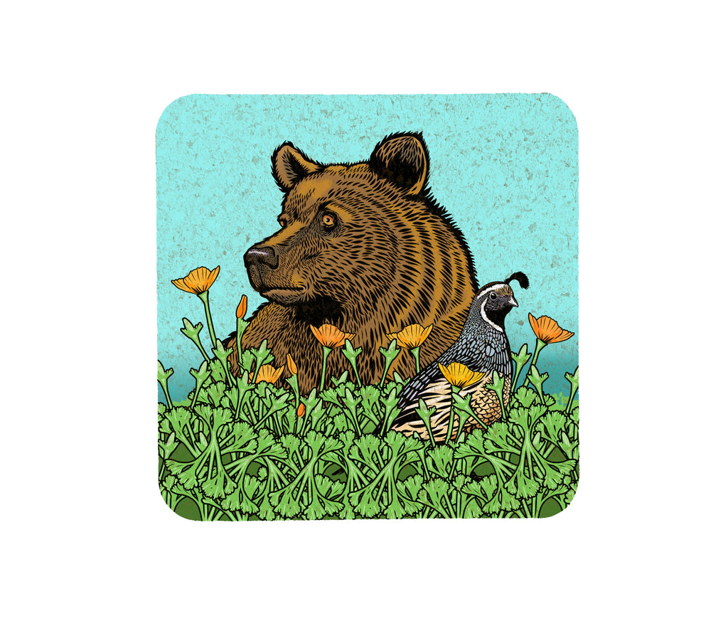 Grizzly Bear and California Quail Cork Coaster, Coasters - Two Little Fruits
