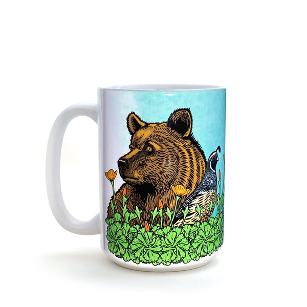 Grizzly Bear and California Quail 15 Oz. Coffee Mug