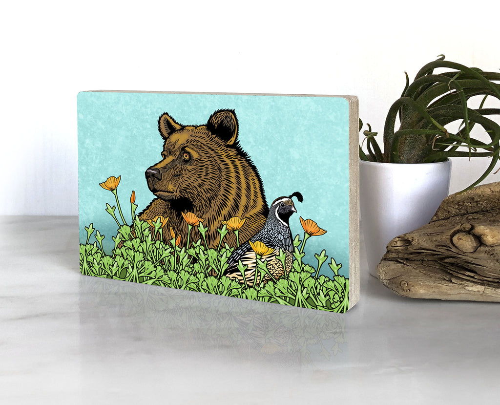 Grizzly Bear Quail and California Poppies Wood Art Block, Art On Wood - Two Little Fruits