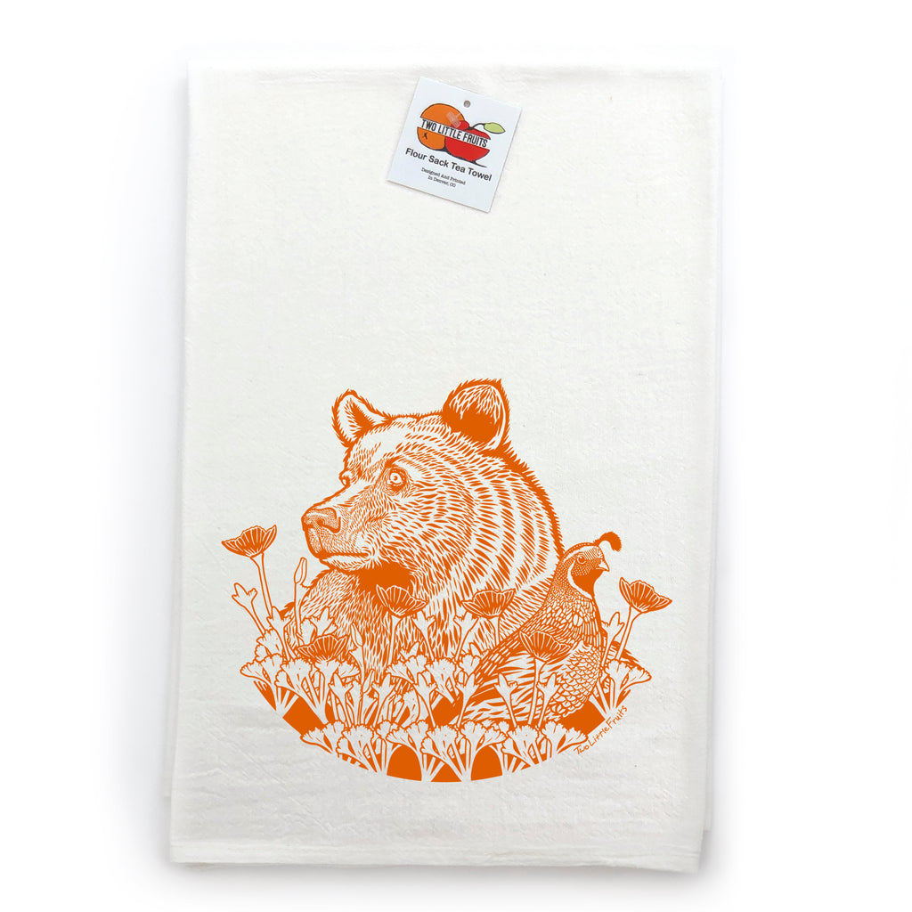 Grizzly Bear Cotton Tea Towel, Tea Towels - Two Little Fruits