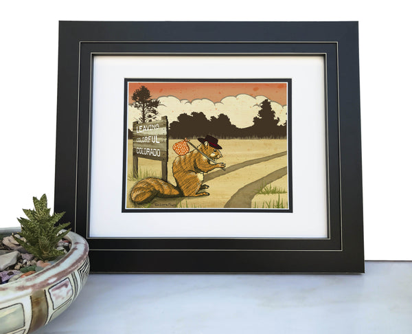 Colorado Hobo Squirrel Art Print