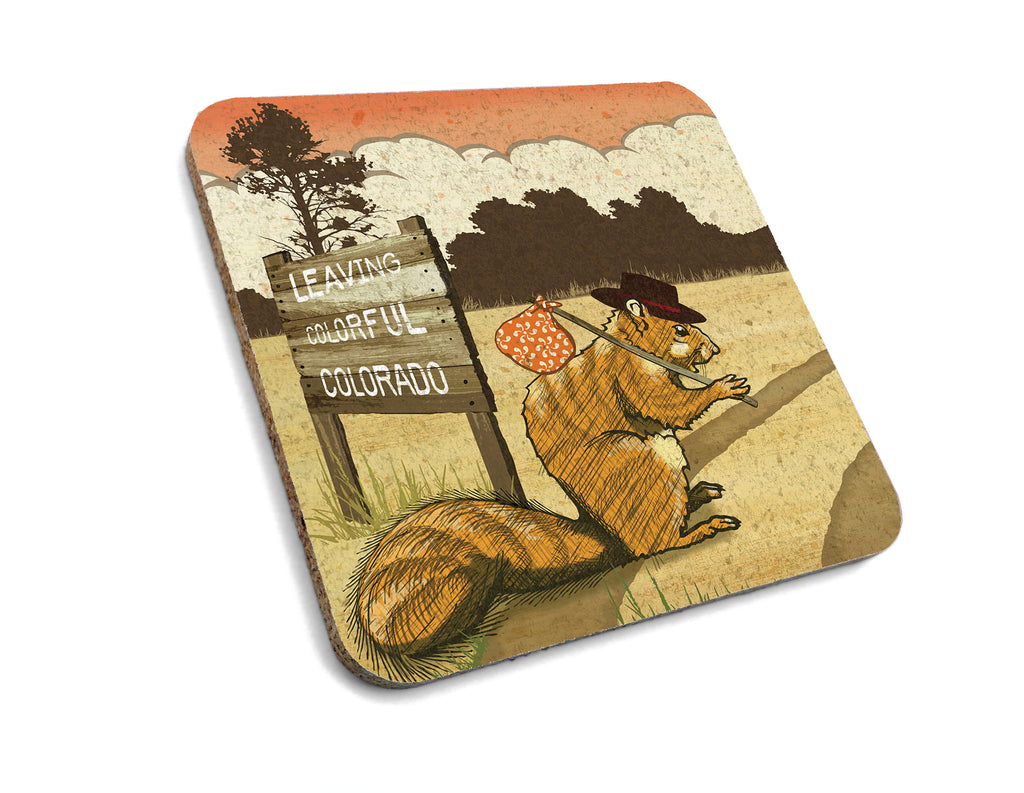 Colorado Hobo Squirrel Cork Coaster, Coasters - Two Little Fruits