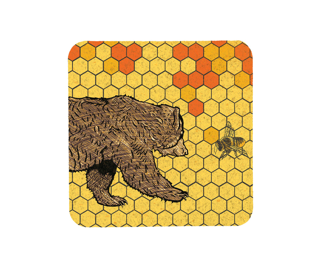 Honeybee and Bear Yellow Cork Coaster, Coasters - Two Little Fruits