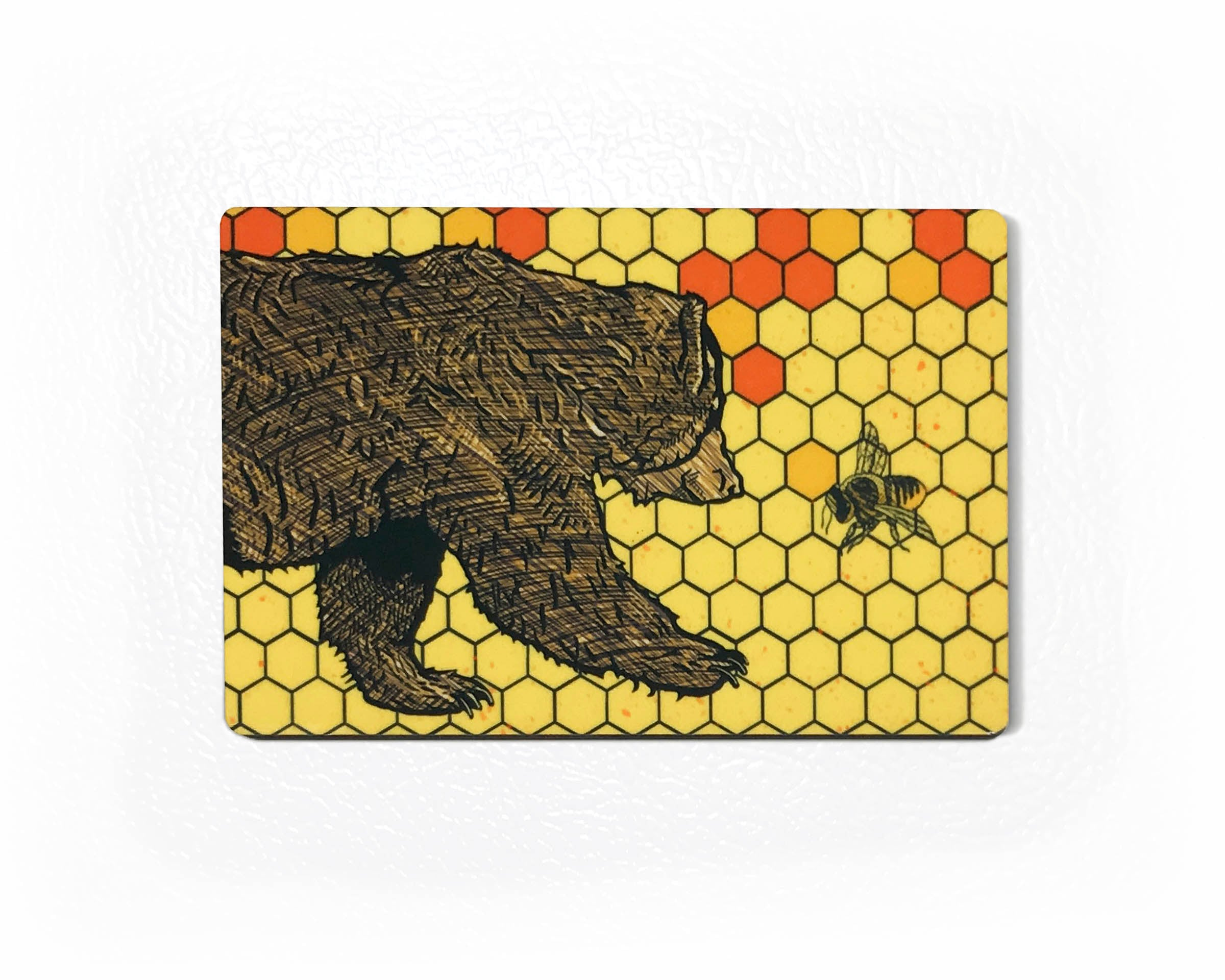 Bear Honey Bee Fridge Magnet - Nature Kitchen Decor