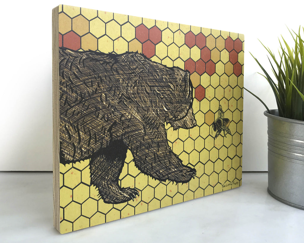 Honeybee and Bear 8x10 Wall Art on Wood, Art On Wood - Two Little Fruits
