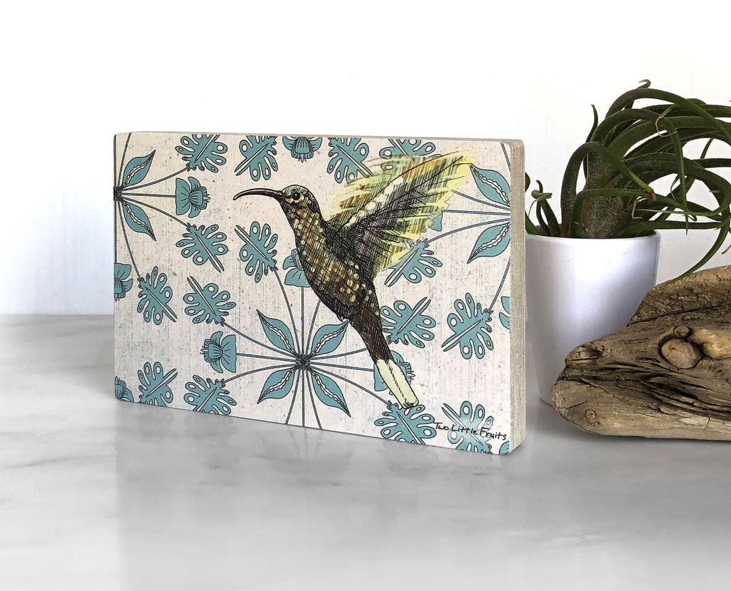 Floral Hummingbird Small Wood Shelf Art, Art On Wood - Two Little Fruits