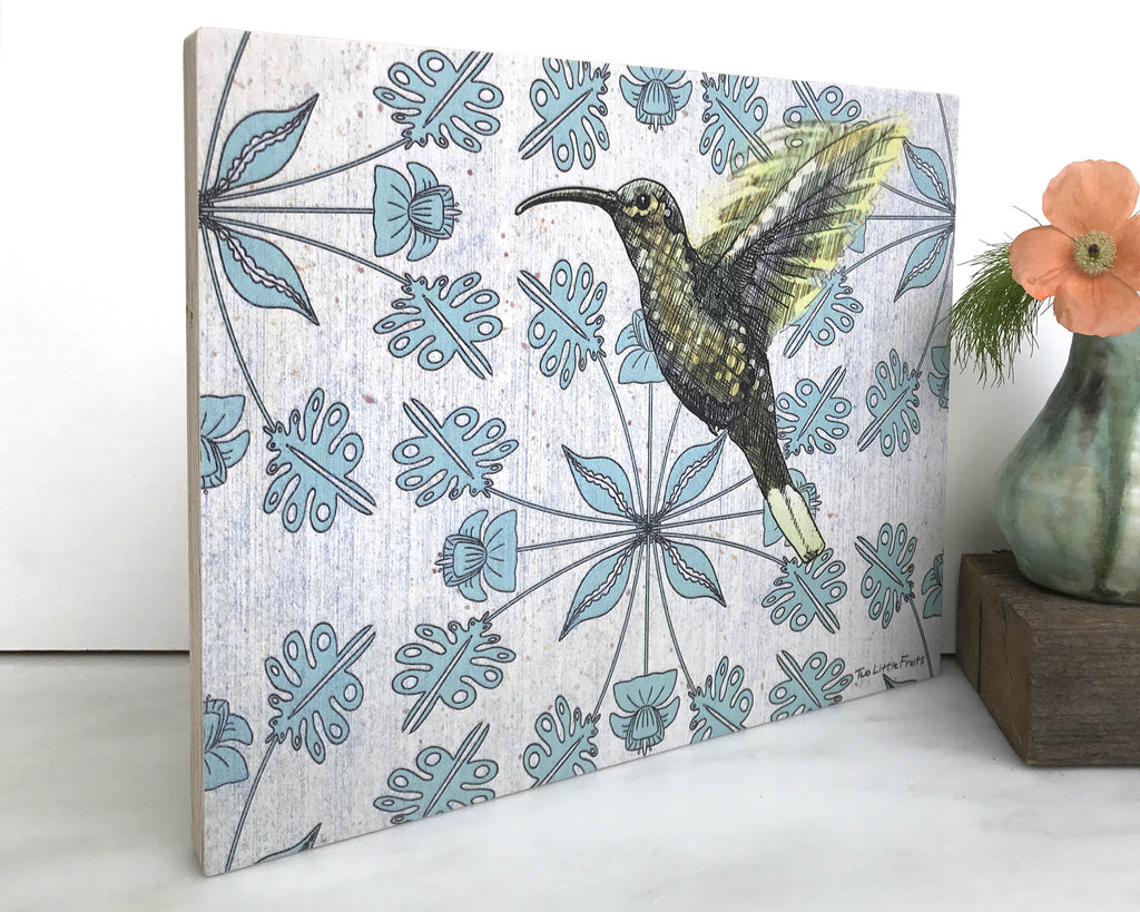 Floral Hummingbird 8x10 Wall Art on Wood, Art On Wood - Two Little Fruits